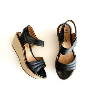 Clarks | Black Leather Wedge Sandals Size 6